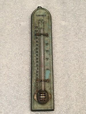 Antique Small Wooden Wall Thermometer Made In USA