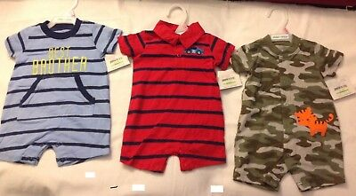 (3 Outfits) Child of Mine by Carters Infant Boys Romper 12 Months New with Tags