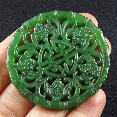 95CT 100%Natural Antique Old Hetian Jade Carved Pendant UCZS200