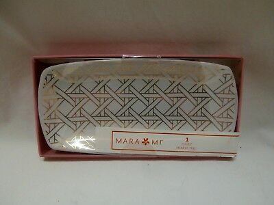"""Trinket Jewelry Tray White gold Stoneware /""""Today is Going to be Awesome/"""" #947"""