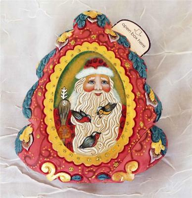 G. Debrekht Russian Christmas Puzzle Box - Santa With Birds - Wrapped Wishes New