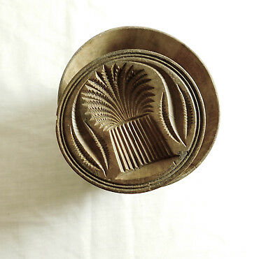 """Nice Big Antique Kitchen Primitive Hand Carved """"Wheat Sheath"""" Butter Mold Stamp"""