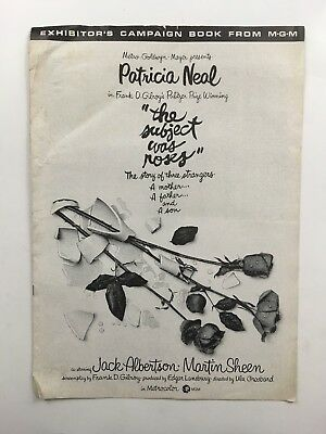 """THE SUBJECT WAS ROSES Pressbook 1968 16Pages 12"""" x 17"""" Movie Poster Art 419"""