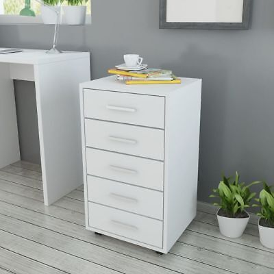 vidaXL Study Office School Filing Cabinet Rolling 5 Storage Drawers White