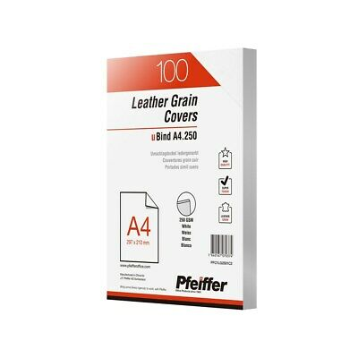 Leathergrain Covers A4 250gsm White, 100-Pack - PFC1LG2501C2