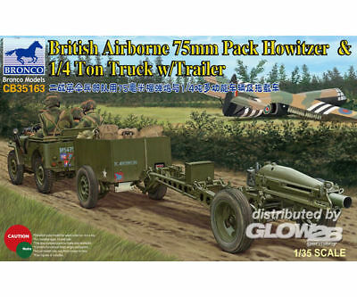 Bronco Models CB35163 75mm Howitzer M1A1(British Version)u. 1/4 Ton Truck with T