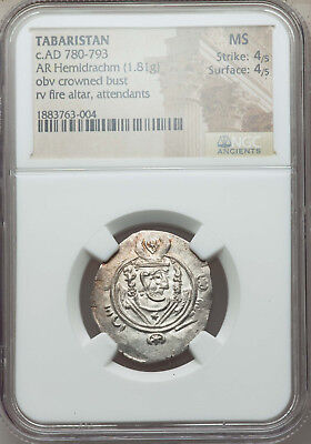 Tabaristan c.AD 780-793 NGC MS 4/5,4/5 Ancient Silver Coin (Anonymous)