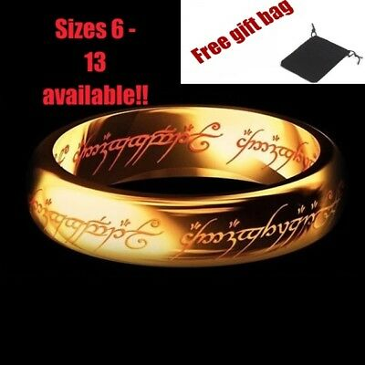 The Lord of the Rings Ring Stainless Steel LOTR Frodo Gollum Gold Fathers day UK