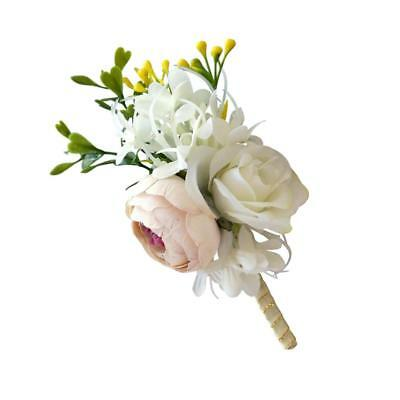 Bridal Wedding Boutonniere Corsage Silk Roses Flower Corsage Champagne