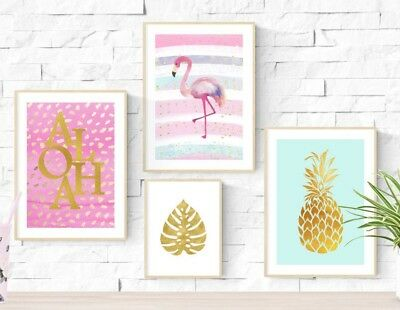 Gold Tropical Aloha Flamingo Pineapple Prints Wall Art Pictures Room Posters