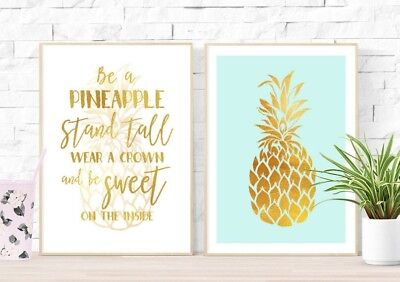 2 Tropical Beach Gold Pineapple Wall Art Pictures Prints Girls Room Posters
