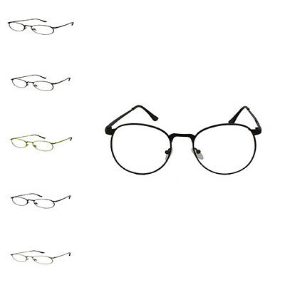 Oval Round Unisex Clear Lens Vintage Geek Nerd Metal Frame Retro Style Glasses