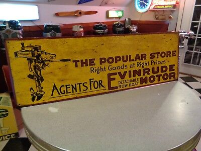 antique 1914 Evinrude row boat motor tin sign