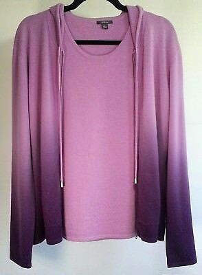 NWT Pure Amici 100% Cashmere Hooded Sweater Set Cardigan TWINSET Wisteria Lg