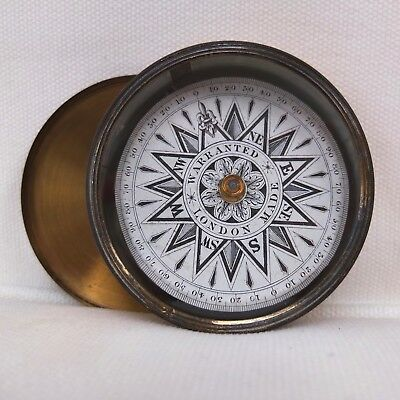 ANTIQUE BRASS CASED VICTORIAN POCKET COMPASS c.1860 RARE 'WARRANTED LONDON MADE'