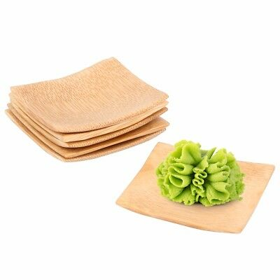 6x Square Bamboo Serving Dishes|Tapas Wasabi Sauce Dip Side Condiment Plate Dish