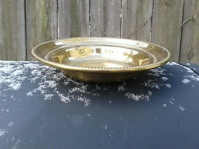 Vintage Towle Solid Brass Round Plate / Dish #3665