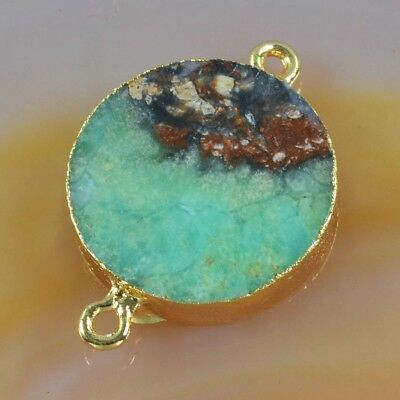 Round Australia Natural Chrysoprase Connector Gold Plated T050544