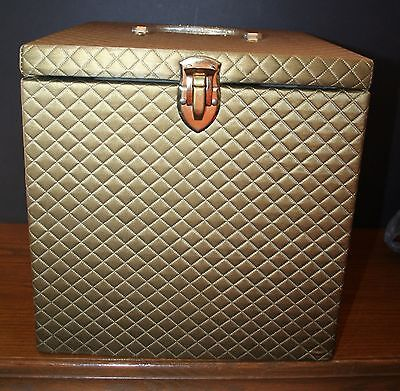 VTG Quilted Hat Box MODEL HOME Closet Accessories Square EUC Gold