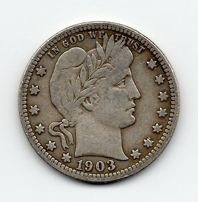 1903-S silver Barber Quarter - free shipping - better condition
