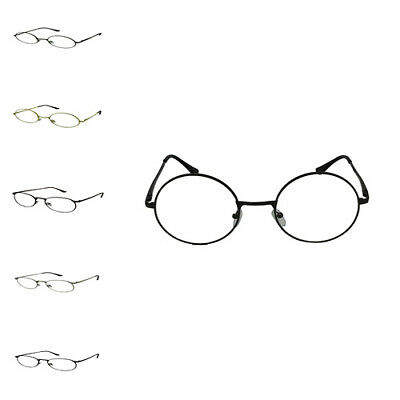 Unisex Vintage Nerd Geek Round Clear Lens Retro Fashion Metal Frame Glasses Gift