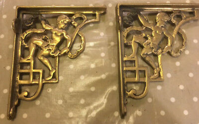 Pair Decorative large Victorian Style Cast Brass Shelf/Cistern Brackets Supports