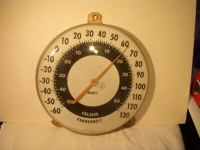 """Vintage Original Ohio Jumbo Dial 12 """" Outside Thermometer Made In USA Works!"""