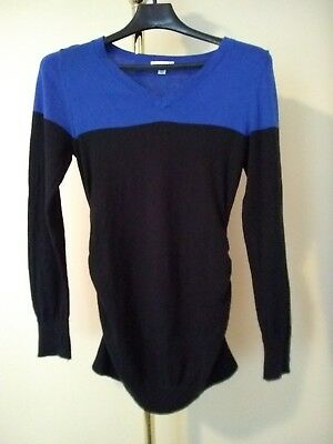 Liz Lange Maternity V Neck Pullover Sweater gathered sides Women's Size Medium
