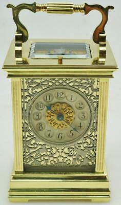 Extremely Rare Antique French 8 Day Brass & Filigree Repeating Carriage Clock