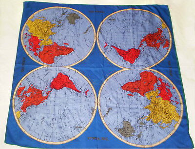 """Vintage SILK SCARF Map of THE WORLD EARTH East & West Hemispheres 35.5"""" Sq"""