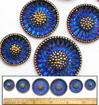 18-27mm Czech Glass PURPLE SUNFLOWER Mother/Daughter SHANKLESS Buttons 6p 3SIZES