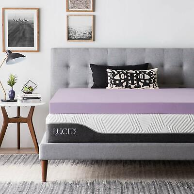 LUCID 2, 3, 4 Inch Lavender Memory Foam Mattress Topper - Twin Full Queen King