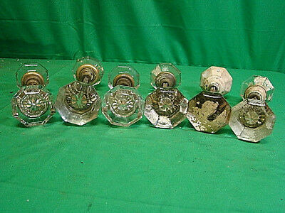 Lot Of 6 Sets (12 Knobs) Oversized Glass Crystal Antique Art Deco Door Knob Sets