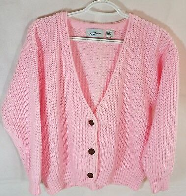 Vintage Liz Thomas Pink Womens Large 1970'S Grandmother's Sweater