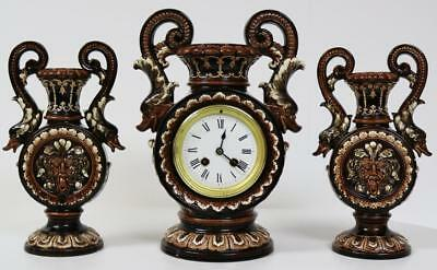 Beautiful Antique 19thc French 8 Day Majolica Porcelain Vase Mantle Clock Set
