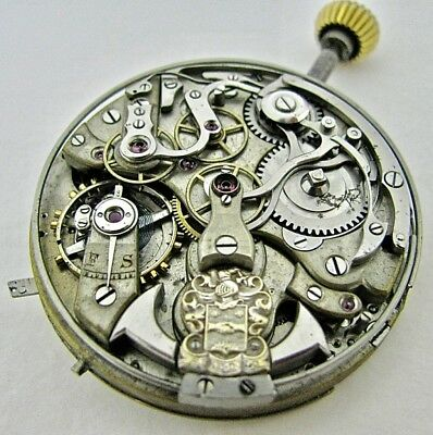 Antique (Swiss ?) QUARTER REPEATER CHRONOGRAPH Pocket Watch Movement 43.2mm RUNS