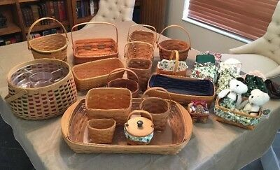 Lot of 17 Longaberger Baskets, Liners, and Protectors, Boyd's Bears