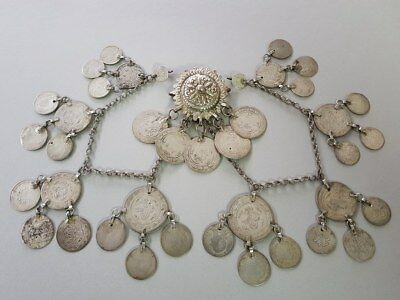 ANTIQUE ORIGINAL OTTOMAN SILVER handcrafted jewelery NECKLACE + silver coins