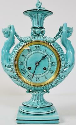 Rare Antique 8 Day French Wedgwood Majolica Turquoise Porcelain Mantel Clock