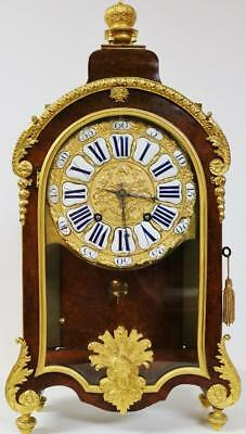 Rare Antique 18thc French Burr Walnut & Bronze Ormolu Verge Boulle Bracket Clock