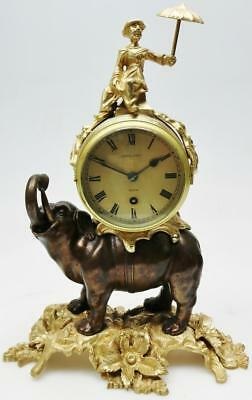 Rare Antique C1890 English 8 Day Patinated Bronze & Ormolu Elephant Mantle Clock