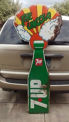 """Vtg 1969 7-UP Soda Bottle Tin Sign 72"""" x 28"""" Peter Max  LOCAL BUT CAN BE SHIPPED"""