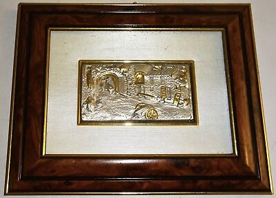 """Vintage EUROESSE Italy 999 SILVER & GOLD CITYSCAPE in a 6.5"""" x 8"""" WOOD FRAME #2!"""