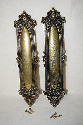 "Pair Vintage / Antique Solid Brass Door Push Plates - Made in USA - 13"" x 3"""
