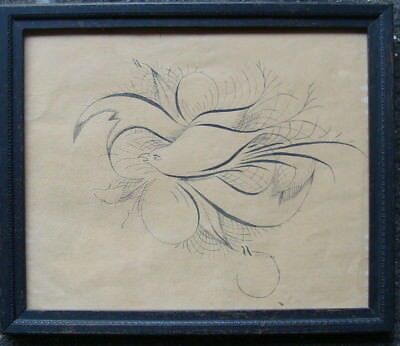 Dated 1902 calligraphy drawing of a dove, no reserve  *