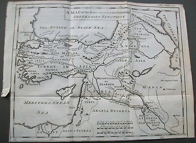 Antique Map Xenophon The Retreat of Ten Thousand Greeks Engraving 1747