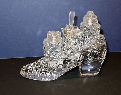 Glass crystal shoe cruet set with salt, pepper and mustard pot with spoon.
