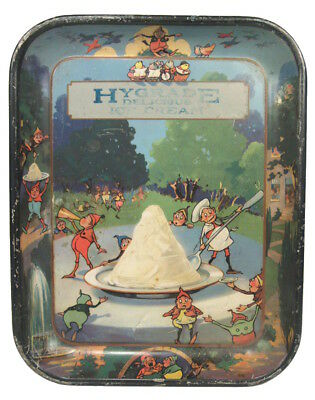 Vtg 19th C Tin Litho Advertising Tray Hygrade Ice Cream Palmer Cox Brownies NR