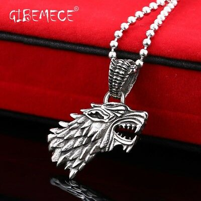 Game Of Thrones House Stark of Winterfell Wolf Necklace Pendant For Man Stainles