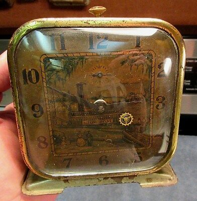 Vintage Lux Show Boat Steamboat River Boat Alarm Clock    Runs!!!!